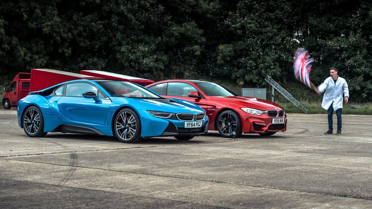 Bmw I8 Vs Bmw M4 Top Gear Drag Races Youtube