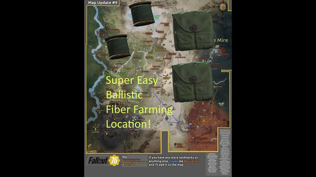 Fallout 76 Easy Ballistic Fiber Farming Location Easy Xp Youtube