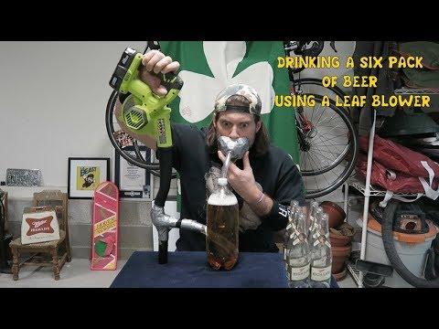 Can A Human Drink A 6 Pack of Beer Using A Leaf Blower In 40 Seconds Or Less? | L.A. BEAST