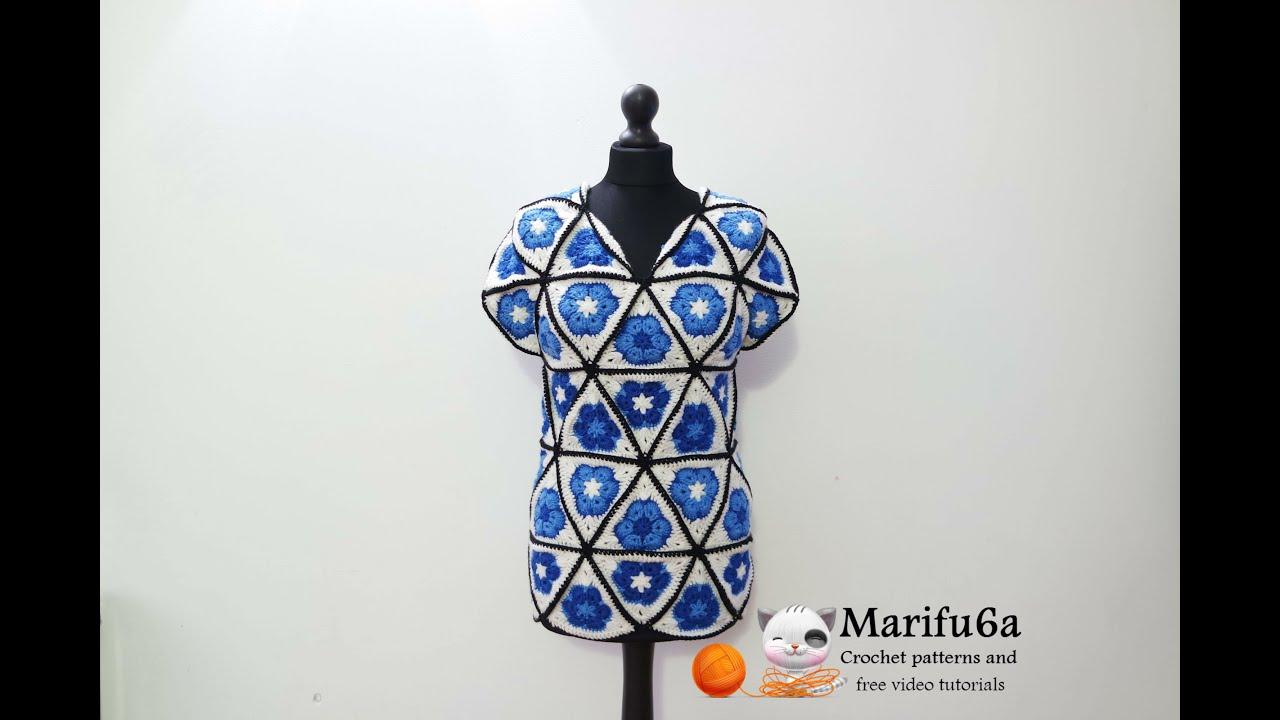 how to crochet blue tunic motif african flower free pattern ...