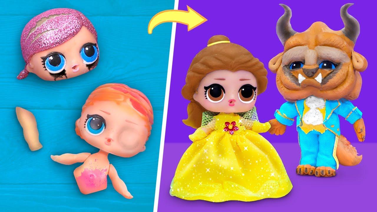 ¡Nunca eres grande para las Muñecas!  10 DIYs de la Bella y la Bestia con LOL Surprise