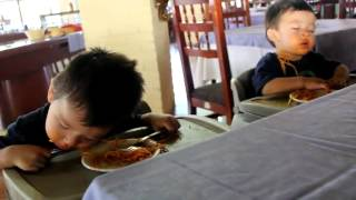 twins fall asleep eating