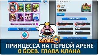 Принцесса на первой арене. 0 побед, 1 lvl, глава клана | Clash Royale