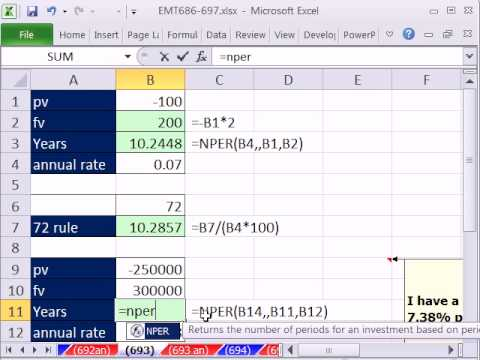 excel magic trick 693 how long to double your money nper function