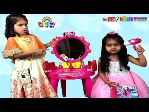 Ashu & Cutie Make Up Pretends Play With Barbie Beauty Studio Kids Toys - Rainbow ToysReview