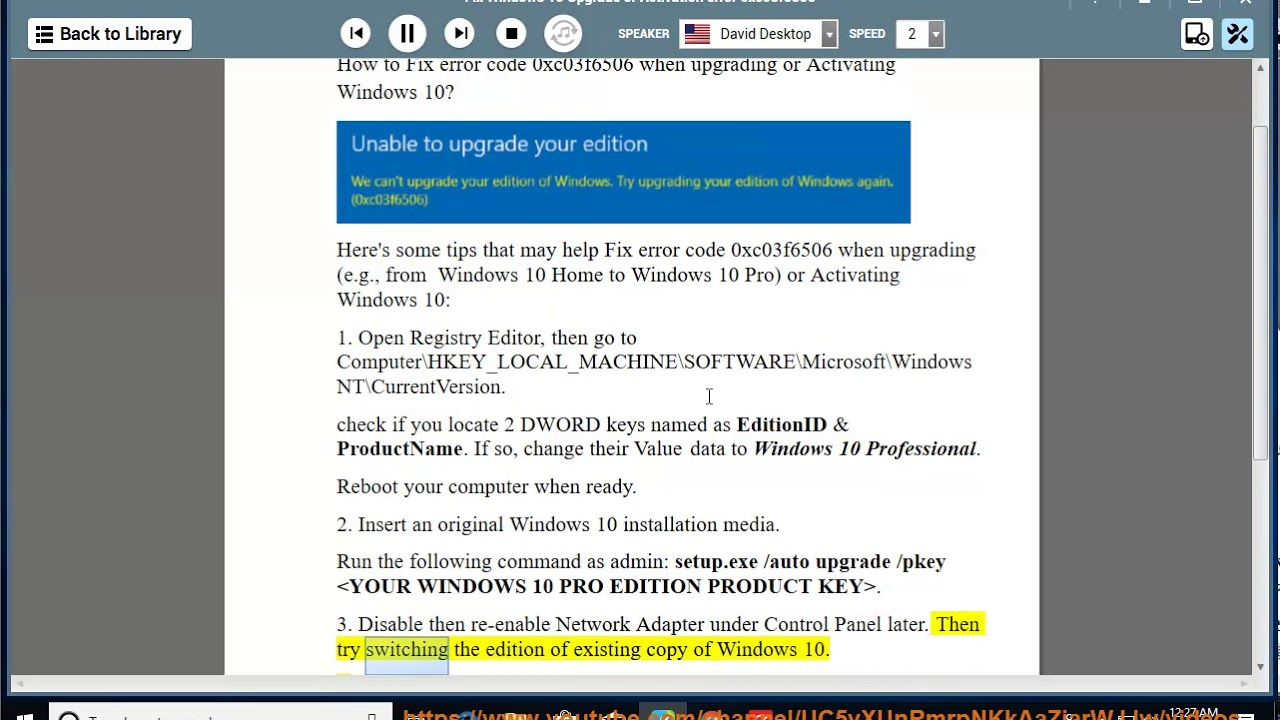 Fix error code 0xc03f6506 when upgrading/Activating Windows 10