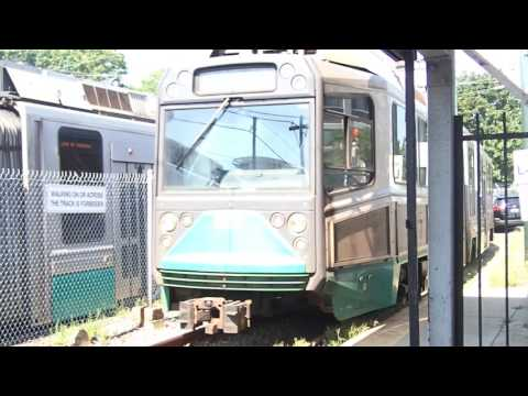 MBTA Green Line Train is Turning at Lechmere station