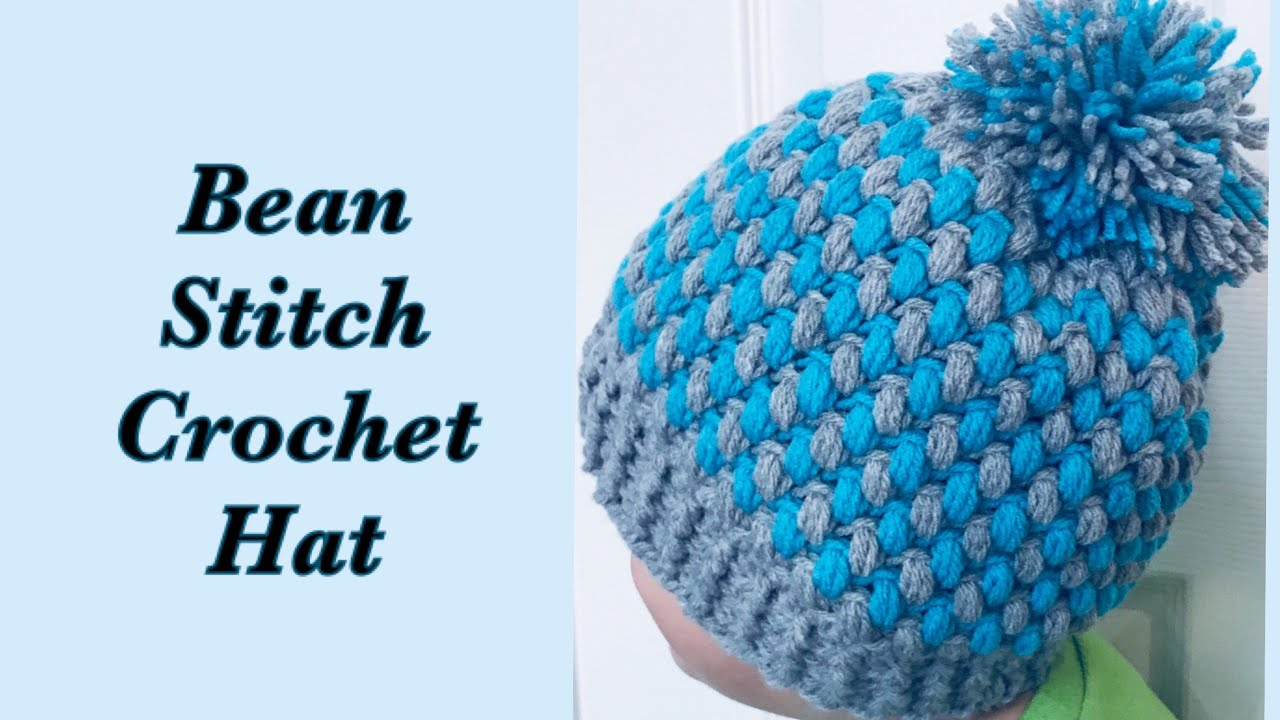 aad170ad Bean stitch crochet beanie winter hats | two colors for boys and girls 8-10  years & ALL SIZES #173