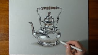 Drawing a crazy realistic SILVER teapot