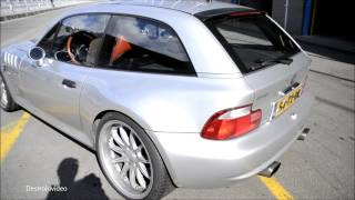 BMW Z3m Coupe Hartge 5.0 V8 Start-up, loud revs, powerslide and on track