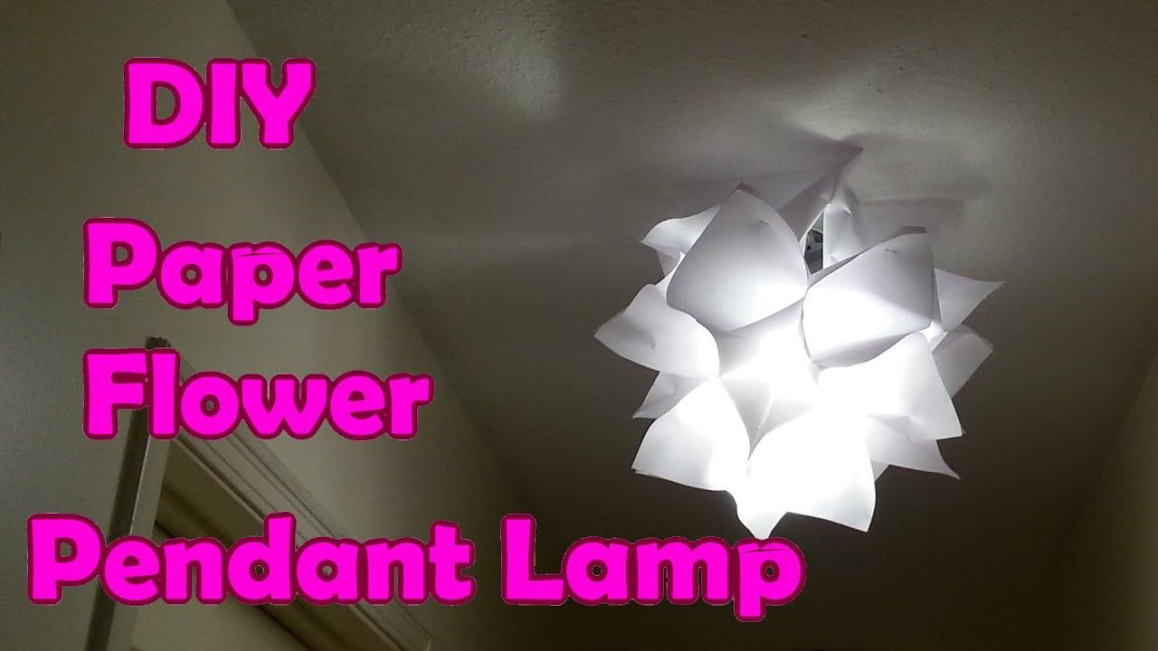Diy paper flower pendant lamp shade diy paper flower pendant lamp shade youtube mightylinksfo