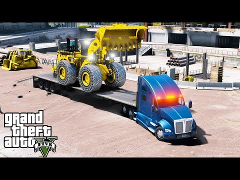 GTA 5 REAL LIFE MOD - ANOTHER DAY AT WORK #39 Delivering A Huge Caterpillar Front Loader To A Site
