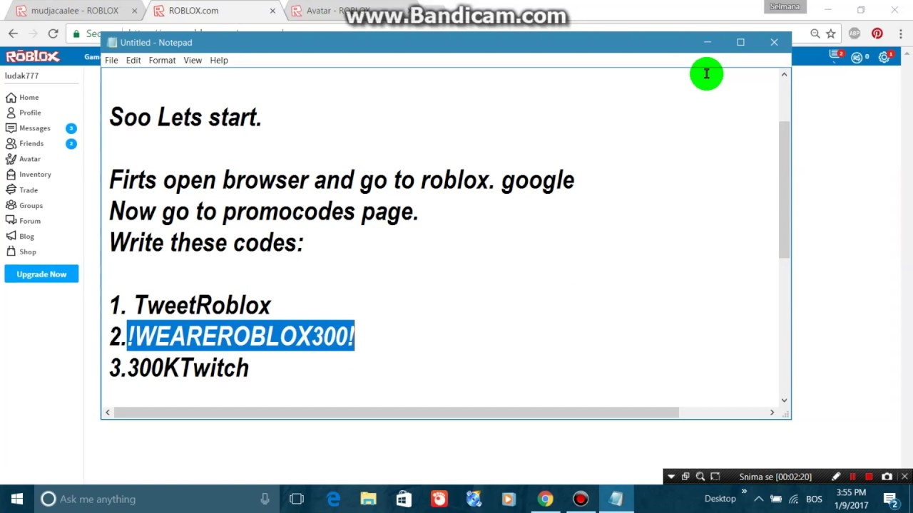 FREE 5 PROMOCODES AND ROBUX-ROBLOX 100% 2017 - YouTube on Promo Code Roblox id=66228
