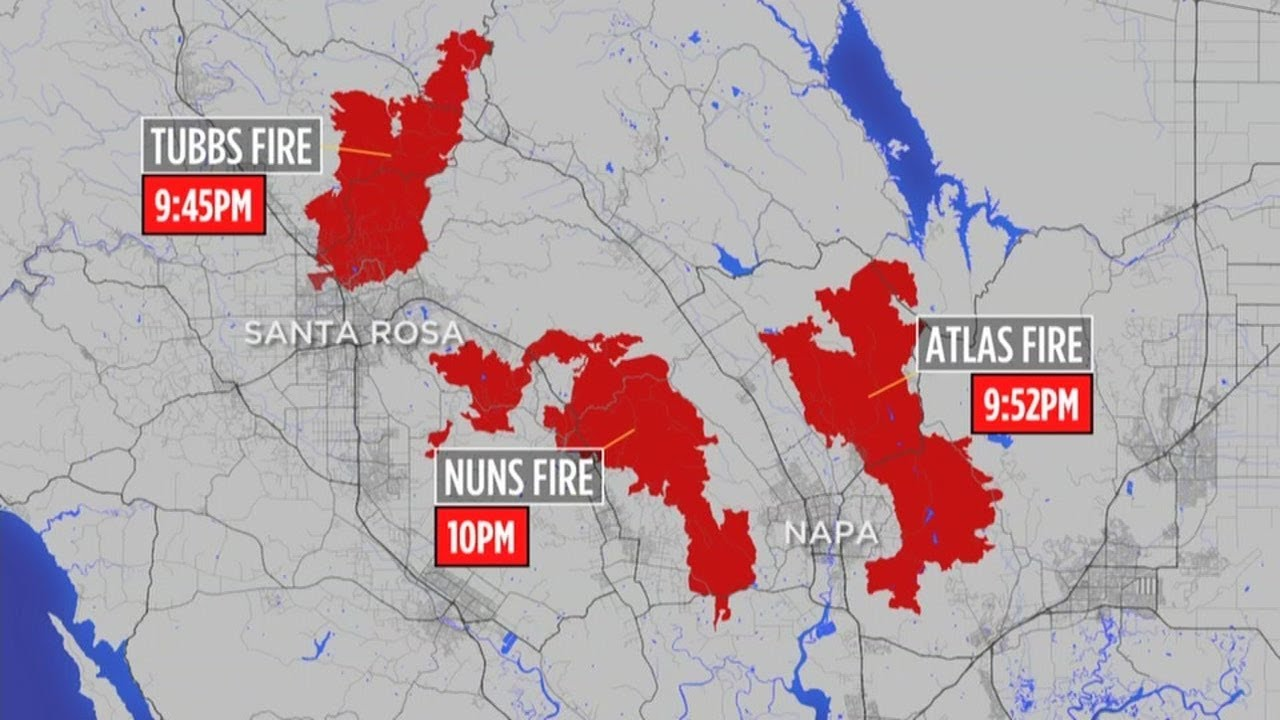 Northbay Fire Map.Timeline How The Deadly North Bay Fires Unfolded In Six Hours Youtube