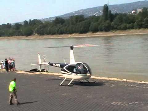Robinson R 44 HA-MIW helicopter landing / Dráva heliport 2010