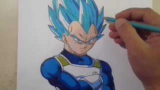 COMO DIBUJAR A VEGETA SSJ DIOS AZUL / how to draw a vegeta ssj blue god