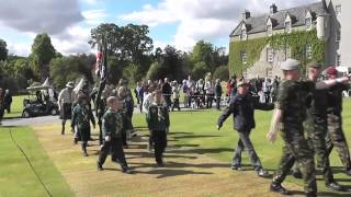 JUBILEE GALA DAY - MASSED PIPES & DRUMS AT BALLINDALLOCH CASTLE