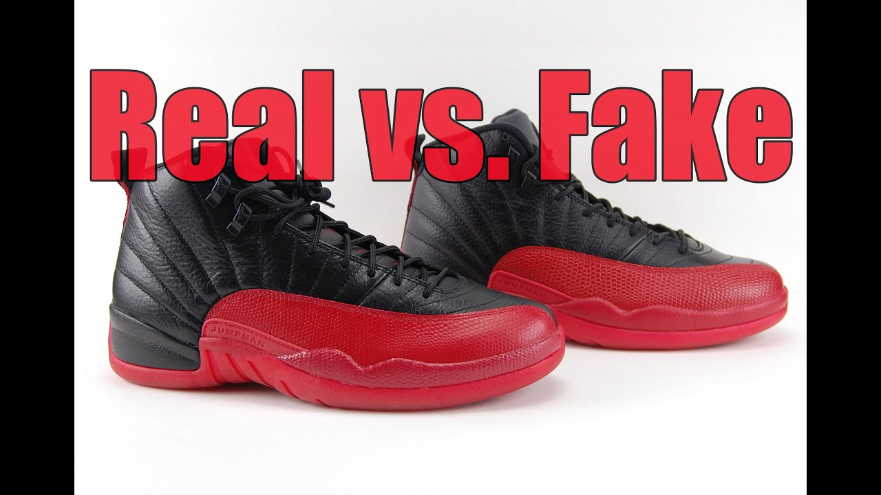 8518366e616 Real vs. Fake Air Jordan 12 Flu Game Bred 2016 Legit Check - YouTube