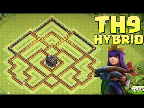 Th9 hybrid base best town hall 9 farming trophy base youtube