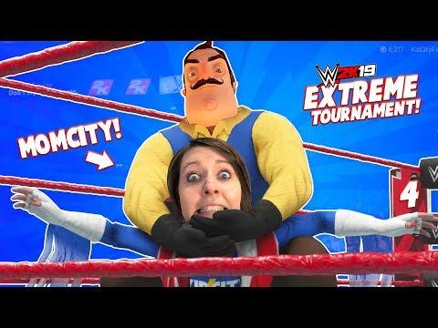MOMCITY debuts vs HELLO NEIGHBOR in WWE 2k19 (Singles Tournament #4) KIDCITY GAMING
