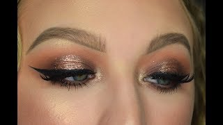 Bronze Glitter Halo Eye Makeup Tutorial
