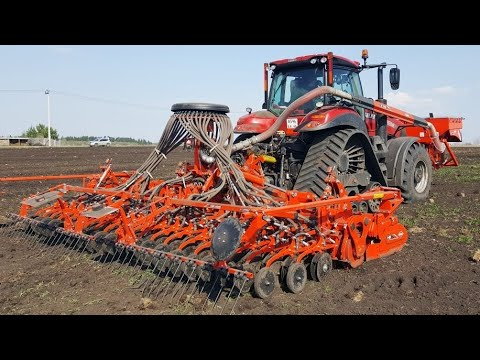 Посев ярового ячменя за один проход с подготовкой почвы: KUHN Venta 6000 | Case IH MAGNUM Rowtrac