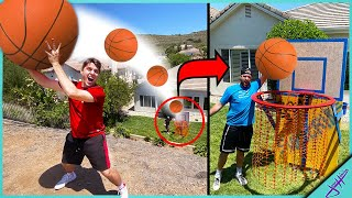 We Built a GIANT BASKETBALL HOOP in my BACKYARD for 2v2 Trick Shot H.O.R.S.E.!