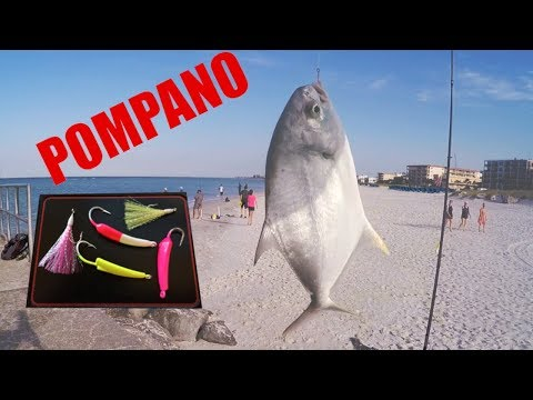 Pompano Surf Fishing With Jigs And Teasers Along The Beach