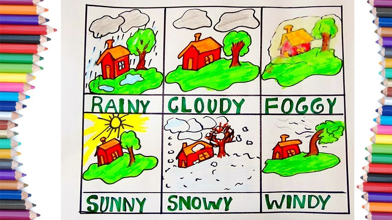 HOW TO DRAW DIFFERENT TYPES OF WEATHER FOR KIDS - YouTube