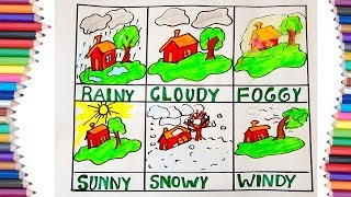 HOW TO DRAW DIFFERENT TYPES OF WEATHER FOR KIDS