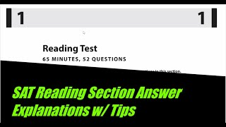 SAT Practice Test 10-Reading Section Answer Explanations w/ Tips and Tricks For The Reading Section!