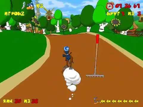Страусиные бега #3 бега страусов с препятствиями  мультяшная игра