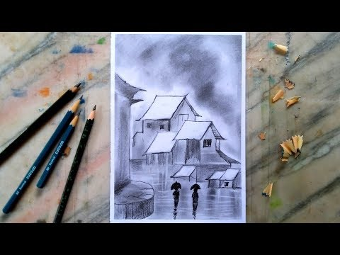 rainy-season-scenery-drawing-with-pencil-|-for-beginners-|-for-kids
