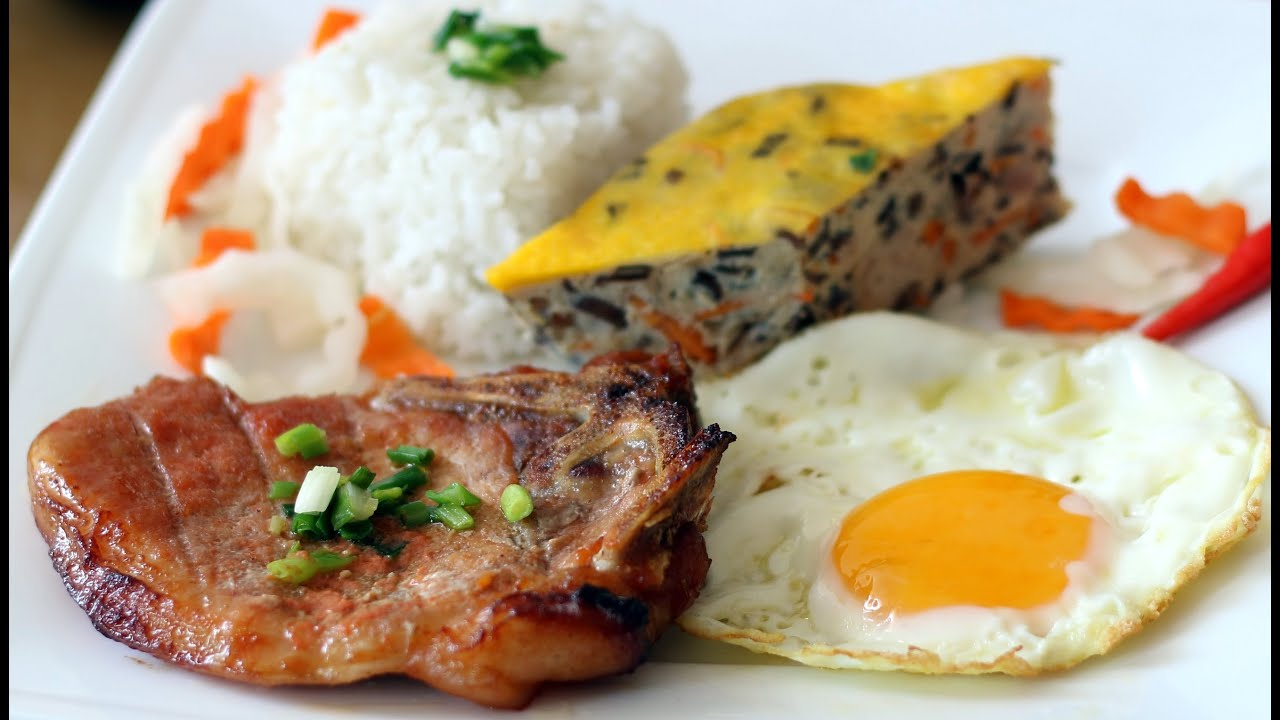 Recipe: Broken Rice with Grilled Pork Chop and Meatloaf