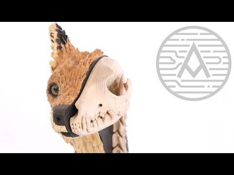 Red Fox Head Wood Carving -- Sculpture
