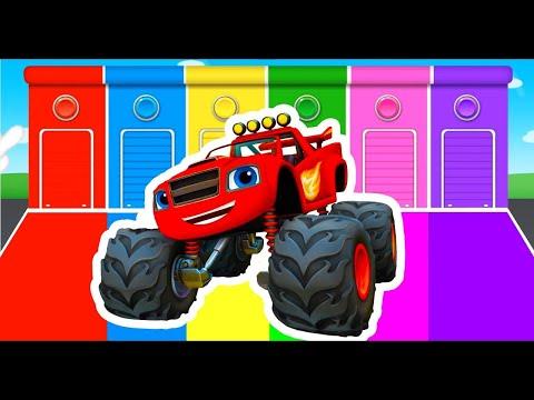 MONSTER TRUCKS // BIG CARS // in mud Red Car Racing Truck GAME KIDS |