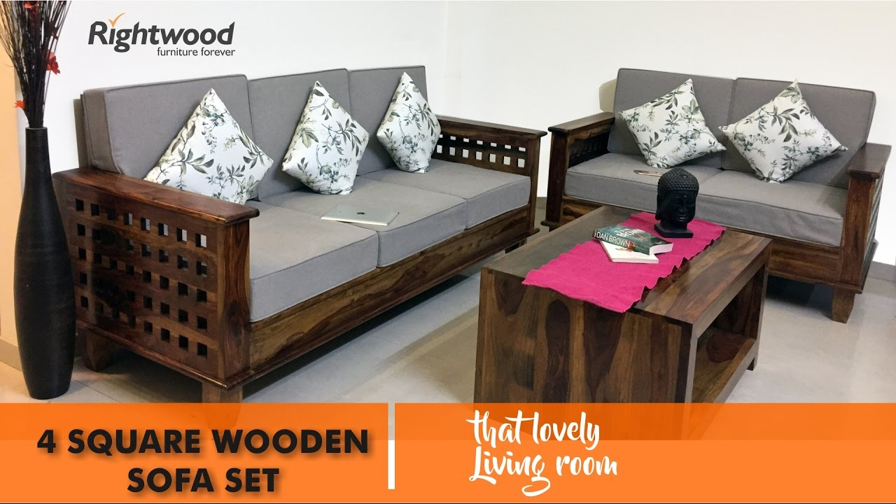 design of wood sofa set intex lounge review designs 2017 2018 wooden four square by rightwood furniture youtube
