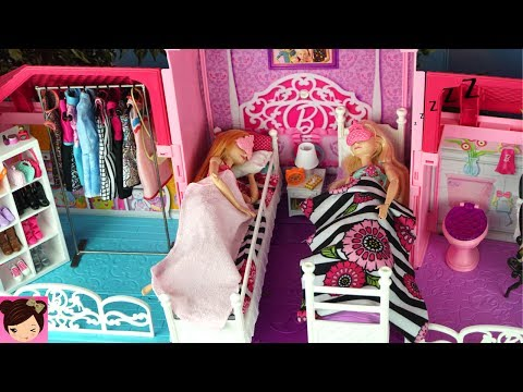Barbie House Morning Routine Princess Bedroom Frozen Queen Elsa & Anna Barbie Car , Doll Dress Up