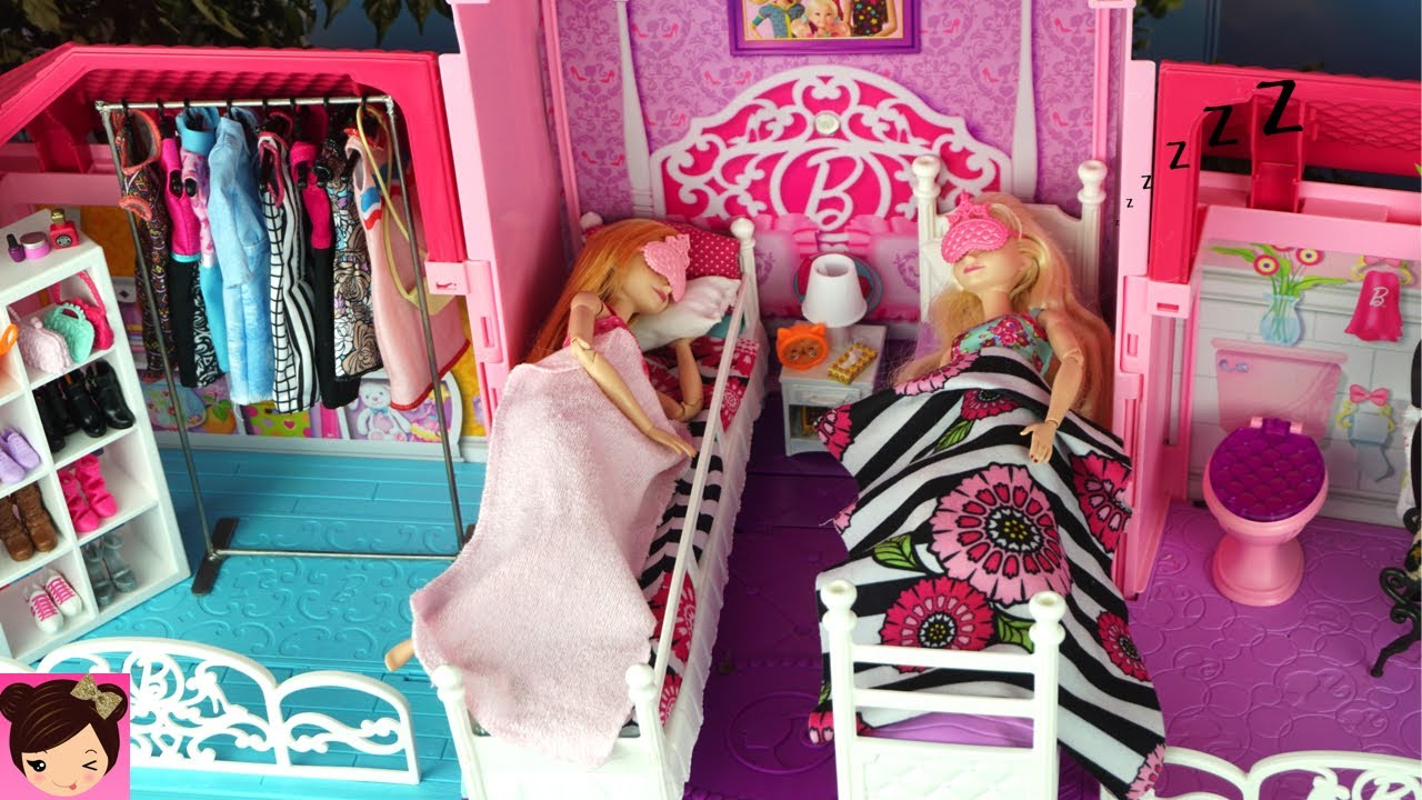 Barbie House Morning Routine Princess Bedroom Frozen Queen Elsa U0026 Anna    Barbie Car , Doll Dress Up