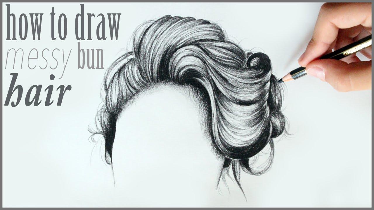 draw messy bun hair drawing
