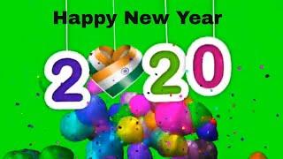 Happy New Year 2020 4k GREEN Screen Background