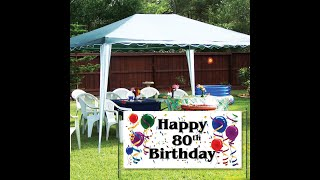 Victorystore Happy 80th Birthday Waterproof Vinyl Banners