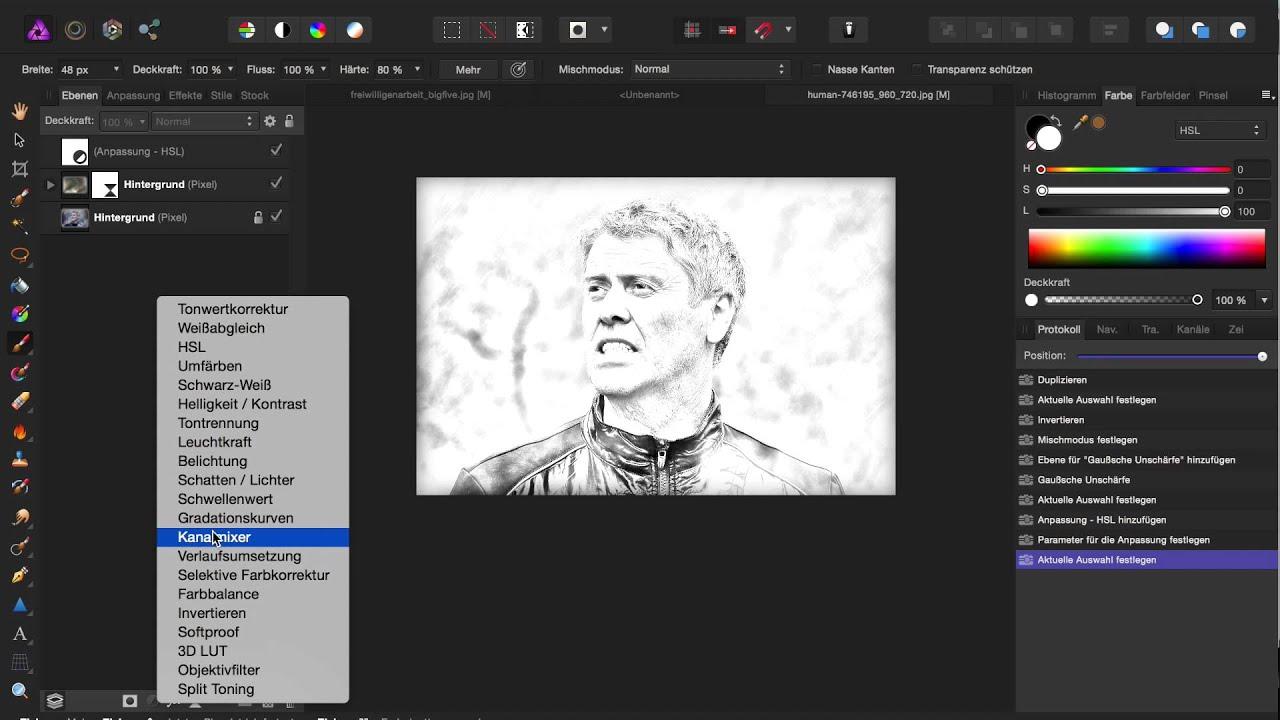 Affinity Photo Sketch Effekt - YouTube