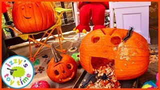 HAPPY HALLOWEEN! Pumpking Carving and THOMAS AND FRIENDS STENCIL FAIL! Fun Toy Trains and Toys!
