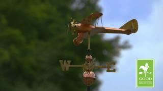 Good Directions 9521p Biplane Weathervane - Polished Copper