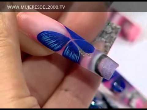 Decoración De Uñas Mariposa Mano Alzada Youtube