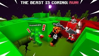 MINECRAFT RUN FROM THE BEAST MAZE ESCAPE with Unspeakable! (MCPE Maze Run)