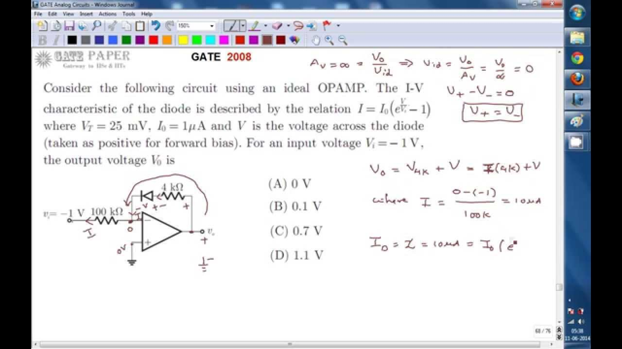Gate 2008 Ece Output Voltage Of Op Amp With Diode In Feedback Youtube Engineering Terms Operational Amplifier Window Comparator Circuits