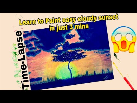 Step by Step Cloudy Sunset scenery |  Easy Sunset Painting | How to Paint a Gorgeous Sunset | Yogesh