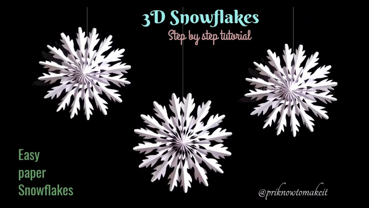 b5c1238ee 3D Snowflake – Paper snowflake – How to Make 3D Paper Snowflakes for  Christmas decorations – Hildur.K.O art blog & shop